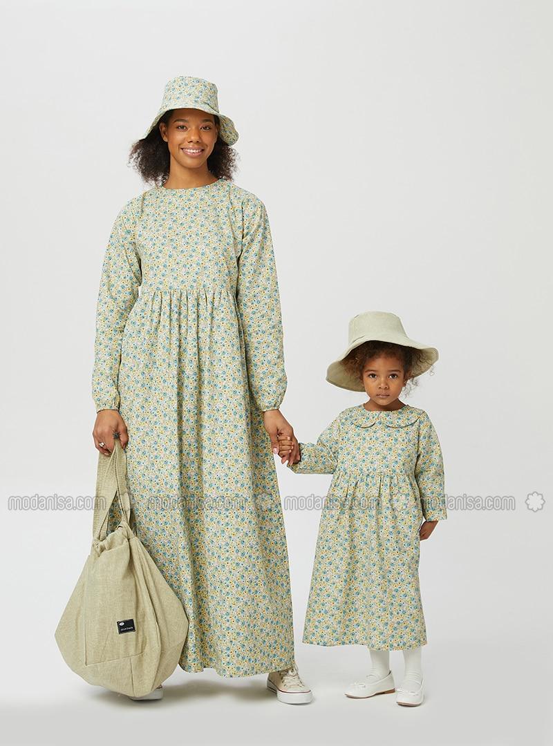 Floral - Round Collar - Unlined - Blue - Green - Girls` Dress