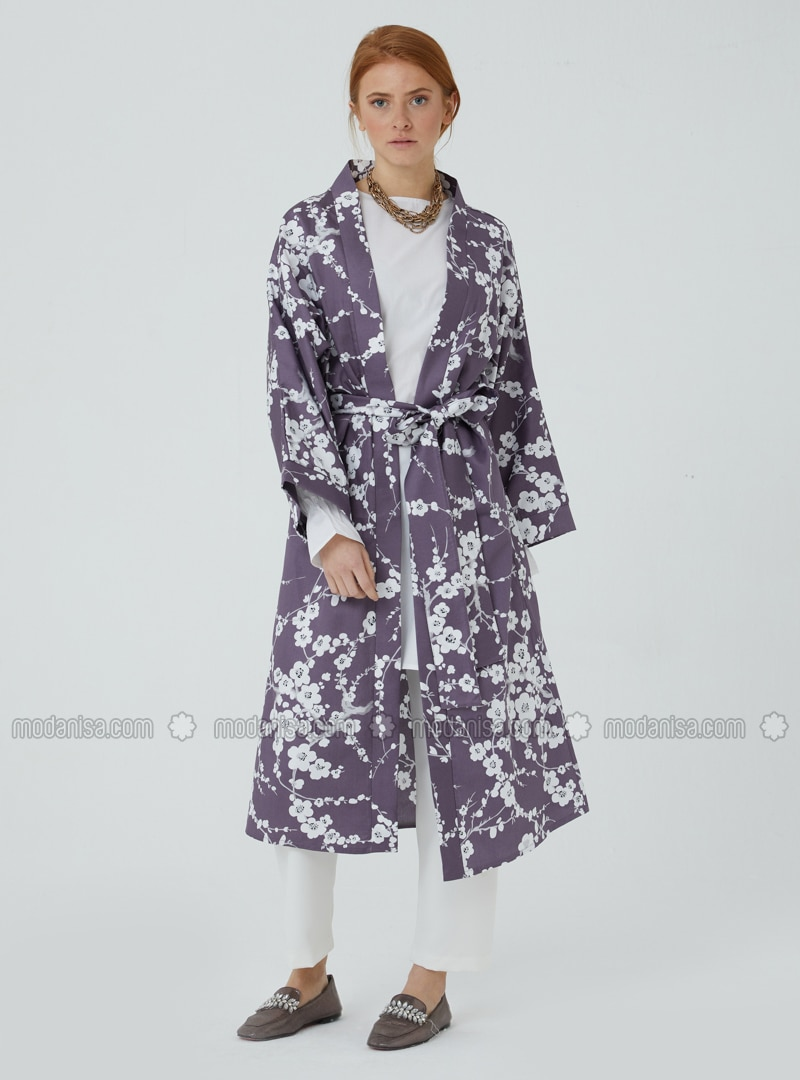 Unlined - Floral - Plum - V neck Collar - Kimono