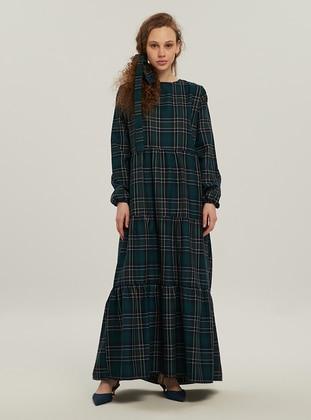 Black - Green - Plaid - Crew neck - Unlined - Modest Dress