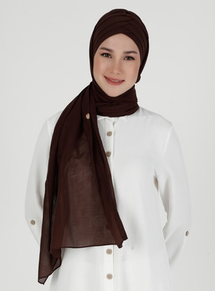 Brown - Plain - Instant Scarf