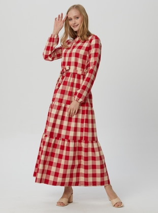 Red - Plaid - Crew neck - Unlined - Modest Dress