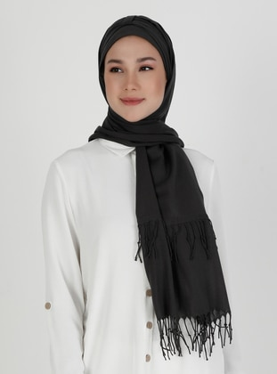 Anthracite - Gray - Plain - Pinless - Instant Scarf