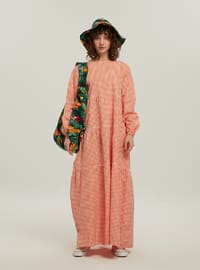 Orange - Gingham - Crew neck - Unlined - Modest Dress