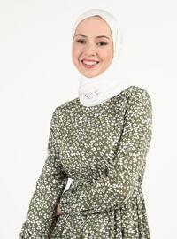 Khaki - Floral - Crew neck - Tunic