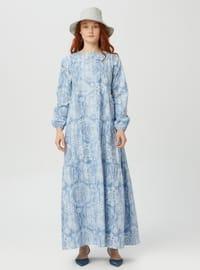 Blue - Crew neck - Unlined - Modest Dress