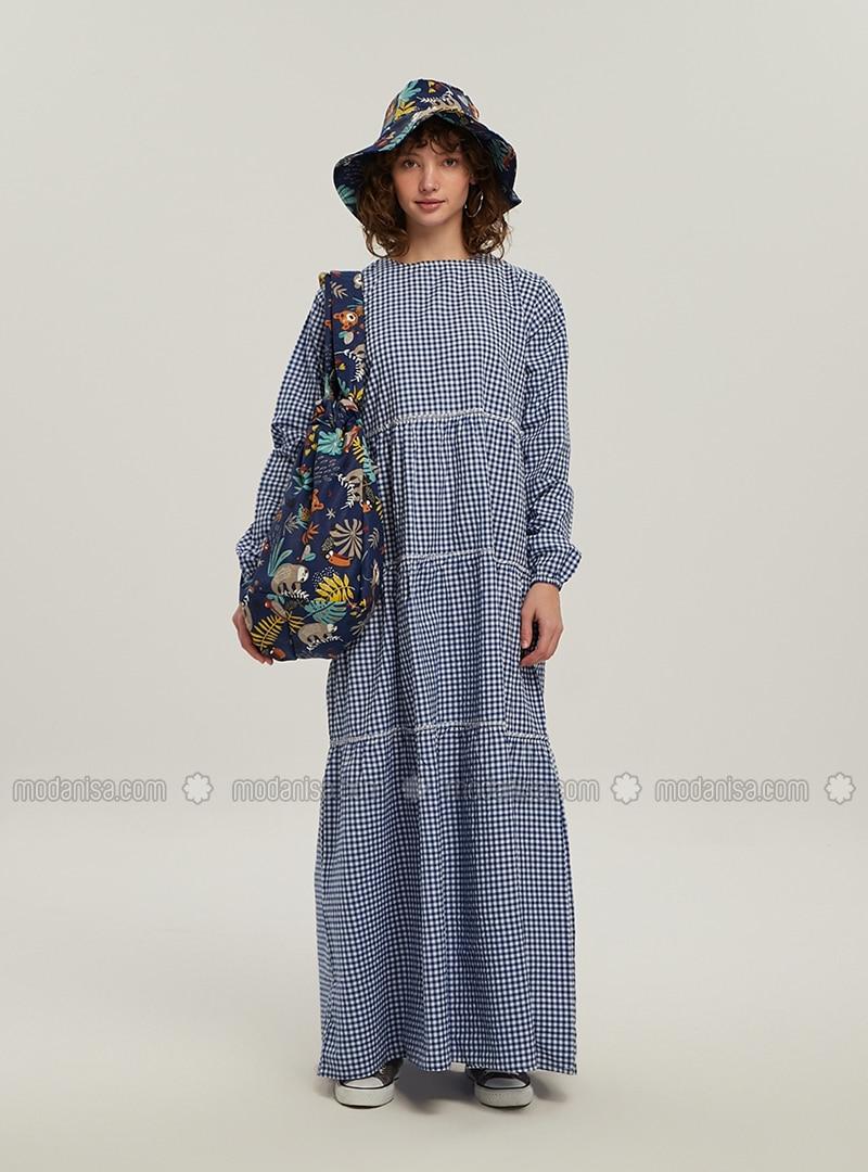 Blue - Gingham - Crew neck - Unlined - Modest Dress