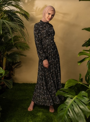 Black - Floral - V neck Collar - Fully Lined - Modest Dress