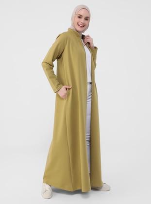 Olive Green - Unlined - Crew neck - Topcoat