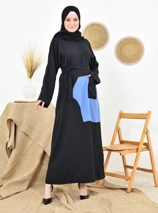 Indigo - Black - Crew neck - Unlined - Modest Dress