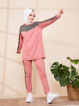 Khaki - Pink - Leopard - Unlined - Suit