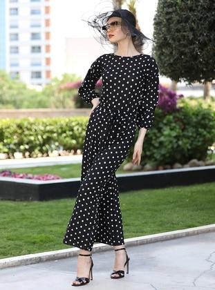 Black - Polka Dot - Unlined - Crew neck - Jumpsuit - Selma Sarı Design