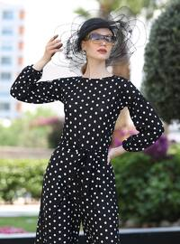 Black - Polka Dot - Unlined - Crew neck - Jumpsuit