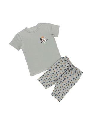 Multi - Crew neck - Unlined - Gray - Boys` Pyjamas