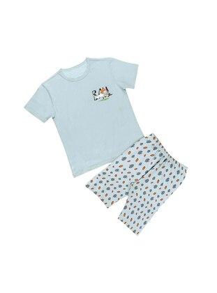 Multi - Crew neck - Unlined - Blue - Boys` Pyjamas