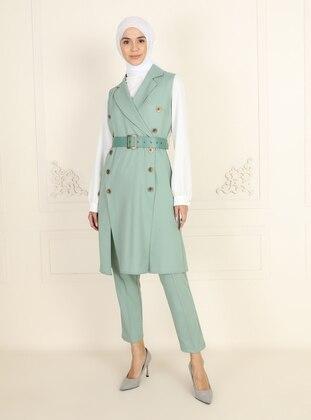 Unlined - Green Almond - Shawl Collar - Evening Suit - AYŞE MELEK TASARIM