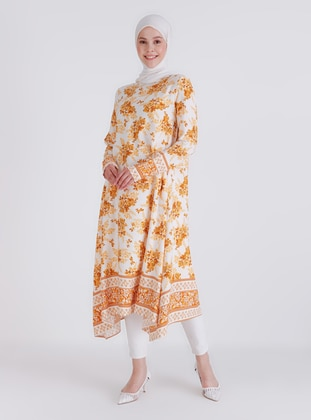 Yellow - Floral - Crew neck - Tunic