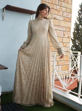 Beige - Camel - Unlined - Polo neck - Modest Evening Dress