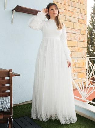 White - Ecru - Unlined - Polo neck - Modest Evening Dress