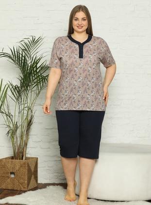 Brown - Multi - Plus Size Pyjamas