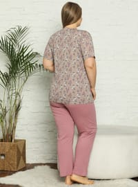 Brown - Multi - Plus Size Pyjamas