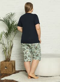 Navy Blue - Multi - Plus Size Pyjamas