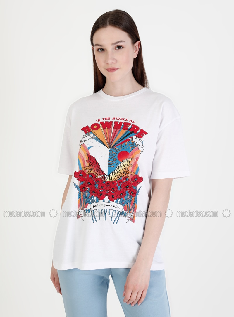 Multi - White - T-Shirt