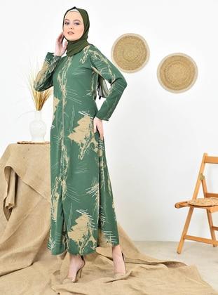 Green - Multi - Unlined - Crew neck - Abaya