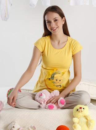 Yellow - Crew neck - Maternity Tunic / T-Shirt