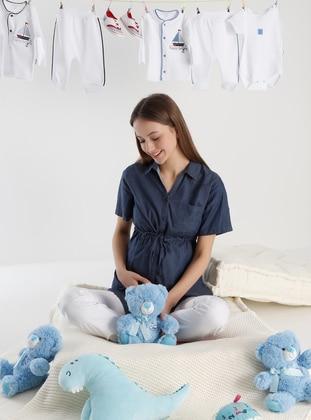 Indigo - Point Collar - Maternity Blouses Shirts