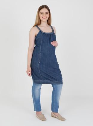 Blue - Unlined - Maternity Dress