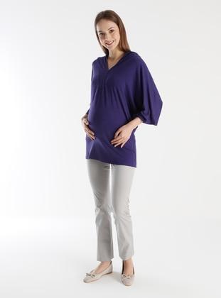 Gray - Unlined - Maternity Pants