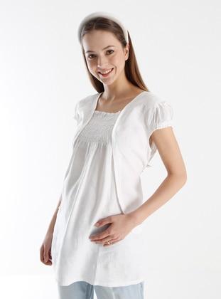 White - Crew neck - Maternity Tunic / T-Shirt