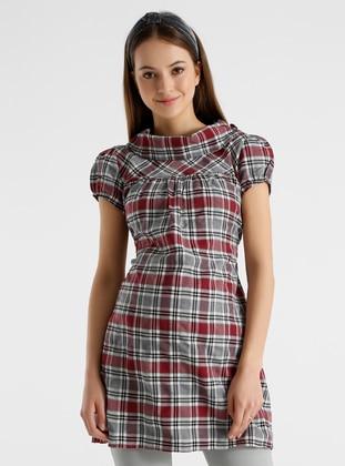 Maroon - Checkered - Maternity Tunic / T-Shirt