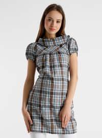 Brown - Checkered - Maternity Tunic / T-Shirt