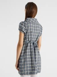 Blue - Checkered - Maternity Tunic / T-Shirt