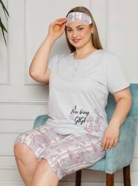 Gray - Multi - Plus Size Pyjamas