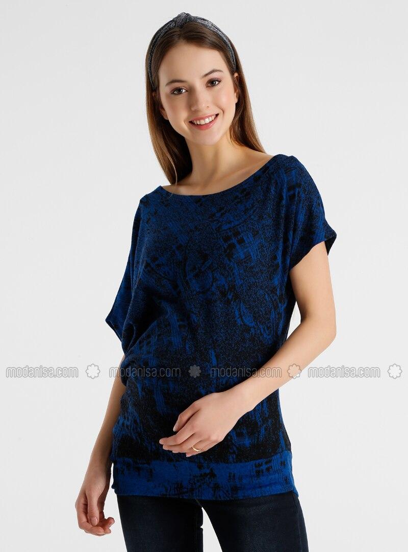 Blue - Crew neck - Maternity Tunic / T-Shirt