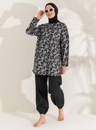 White - Black - Floral - Full Coverage Swimsuit Burkini