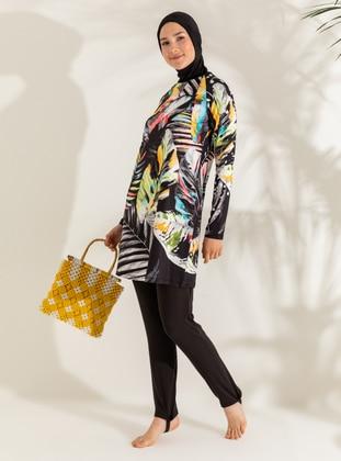 Multi - Black - Floral - Full Coverage Swimsuit Burkini