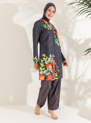 Anthracite - Floral - Tropical - Full Coverage Swimsuit Burkini
