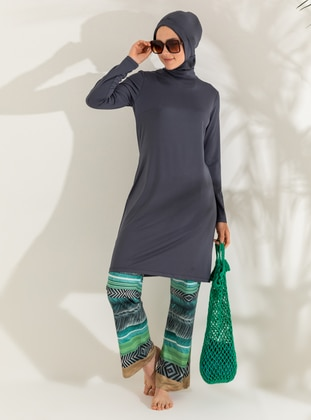 Anthracite - Khaki - Dark Khaki - Stripe - Geometric - Full Coverage Swimsuit Burkini