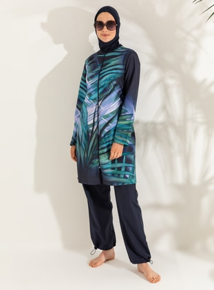 Navy Blue - Leopard - Snakeskin - Full Coverage Swimsuit Burkini - Mayo Bella
