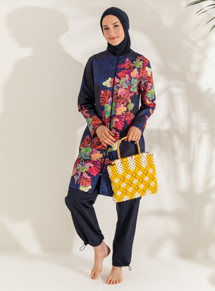 Navy Blue - Floral - Leopard - Tropical - Full Coverage Swimsuit Burkini