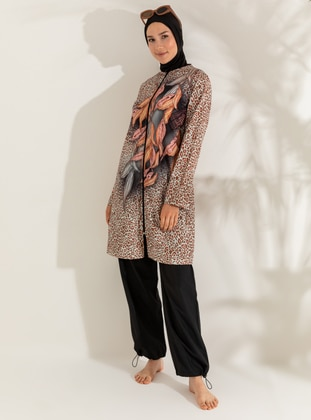 Brown - Black - Floral - Leopard - Tropical - Full Coverage Swimsuit Burkini