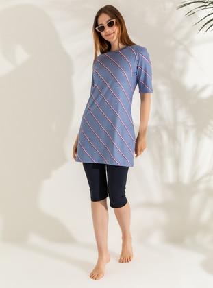 Navy Blue - Blue - Stripe - Half Coverage Swimsuit - Mayo Bella