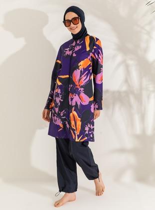 Dark Navy Blue - Dark Purple - Navy Blue - Purple - Floral - Tropical - Full Coverage Swimsuit Burkini