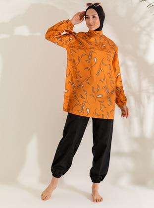 Black - Orange - Floral - Polka Dot - Full Coverage Swimsuit Burkini - Mayo Bella