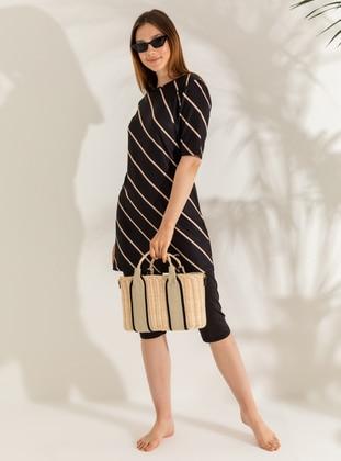 Black - Stripe - Half Coverage Swimsuit
