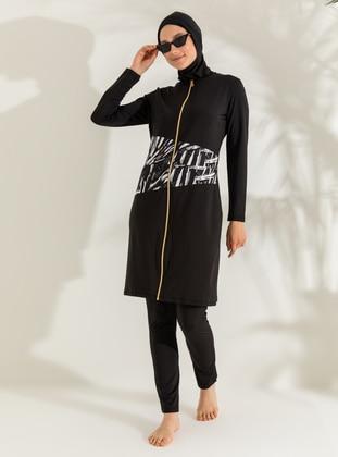 White - Black - Full Coverage Swimsuit Burkini