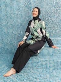 Black - Floral - Tropical - Full Coverage Swimsuit Burkini
